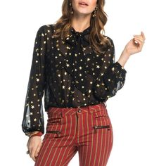 Scotch & Soda Metallic Star Sheer Tie Neck Blouse ($120) ❤ liked on Polyvore featuring tops, blouses, combo a, see through blouse, transparent blouse, neck-tie, tie neck blouse and star print blouse