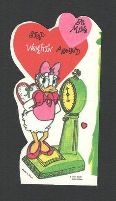 Vintage Valentines Card Disney Daisy Duck Old Green Scale STOP Weightin Around