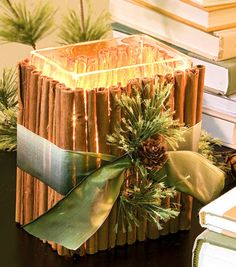 A cinnamon stick candle holder adds an aromatic glow to a room!