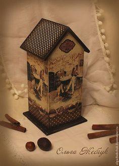 """Купить Комплект для кухни """"Шоколадная фантазия"""" - коричневый, чайный домик декупаж, чайный домик"""