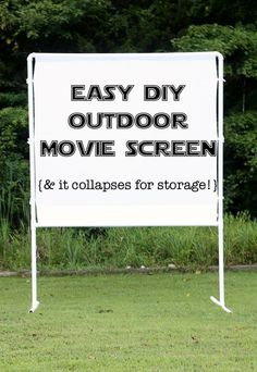 to make an easy DIY outdoor movie screen fun and easy DIY outdoor movie screen - packs up neatly for storage and goes together in minutes.fun and easy DIY outdoor movie screen - packs up neatly for storage and goes together in minutes. Backyard Movie Nights, Outdoor Movie Nights, Outdoor Movie Party, Outdoor Movie Birthday, Backyard Movie Party, Diy Fotokabine, Easy Diy, Simple Diy, Outdoor Zelt