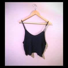 Brandy Melville Crop Top Navy crop top. Light weight. Cotton/viscose blend. Perfect for spring/summer! Excellent condition. Will steam before shipping. Brandy Melville Tops Crop Tops