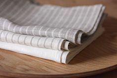 Set of 6 linen tea-towels white gray striped by varvarahome