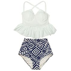 White Long Tankini X Cross Strap Straps Peplum Top and Tribal High... ($40) ❤ liked on Polyvore featuring swimwear, bikinis, silver, women's clothing, strappy bikini, tankini bathing suits, swimsuits bikinis, white high waisted bikini and retro high waisted bikini