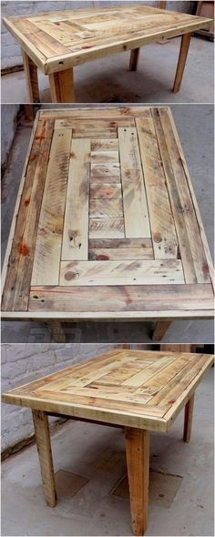 Reused Pallet Wood Coffee Table Reused pallet coffee table idea is really comfortable to design and in look. Simple stacking is adopted in this idea and the finishing and polishing on the pallet wood table is really making it dhiny and more glittering for Wooden Pallet Table, Wood Pallets, Pallet Wood, Diy Wood Table, Pallet Table Outdoor, Wood Table Design, 1001 Pallets, Recycled Pallets, Wood Wood