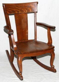 Antique Tiger Oak Rocking Chair.