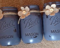 "Set of 3 painted Mason Jars. Painted with Annie Sloan ""Old Violet"" chalk paint."