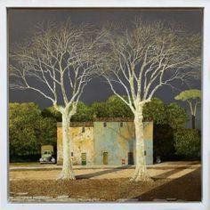 Italian Painters, Italian Artist, Colorful Paintings, Beautiful Paintings, Abstract Landscape, Landscape Paintings, Landscapes, Magic Realism, Building Art