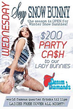 2014 Snow Bunny Contest flyer design for Denim & Diamonds nightclub in Wichita Falls