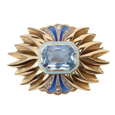 Catalan Art Deco Enamel Blue Spinel Diamond Gold Brooch | From a unique collection of vintage brooches at https://www.1stdibs.com/jewelry/brooches/brooches/