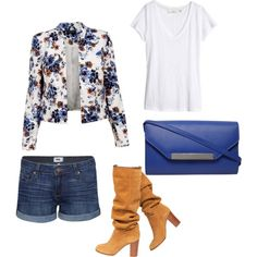 A fashion look from March 2015 featuring H&M t-shirts, Paige Denim shorts and Chanel boots. Browse and shop related looks.