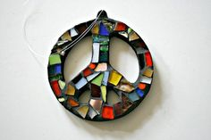 Mosaic Peace Sign Ornament - Scrap Glass Mosaic - FREE SHIPPING Within US