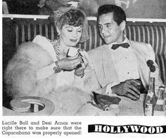 Lucille Ball and Desi Arnaz at the Copacabana Classic Hollywood, Old Hollywood, I Love Lucy Show, Queens Of Comedy, Lucille Ball Desi Arnaz, Lucy And Ricky, Hollywood Couples, Rick Y, Famous Couples
