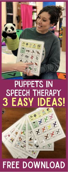 Easy ideas on how to use puppets in speech therapy sessions + a free download!