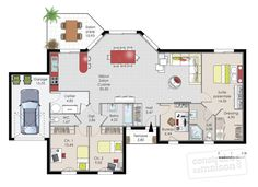 Dressed Floor Ground floor – house – House of plain ground 1 Source by annecelinebobin The Plan, How To Plan, Luxury Apartments, Luxury Homes, Maison Mca, Modern Apartment Decor, Bookshelves In Bedroom, Apartment Floor Plans, Ground Floor Plan