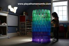 Building with cups.  Building with kids.