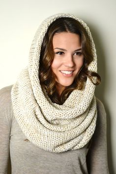 OATMEAL Creme Chunky Honeycomb Knit Tube Infinity by AnytimeScarf, $32.00 (70x30 cm)