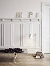 white timber wall panelling