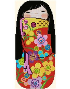 Japanese Kokeshi Doll 5 EMI by CrossStitchRinna on Etsy
