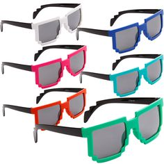 12 Pixel Mixed Colors Kid Party Glasses