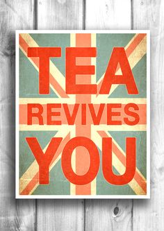 Tea Time Typographic Print Quote art by HappyLetterShop