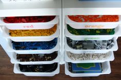 Playroom: As it turns out, I am not the only one to have organized legos by their colors. I would definitely trust this woman's organizational tips.