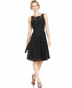 Evan Picone Dress, Sleeveless Belted Lace A-Line. @Sarah Fitzpatrick like this one too!!