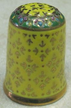 Lovely Ceramic Thimble with Gold Design Yellow Background Gold Trim New | eBay