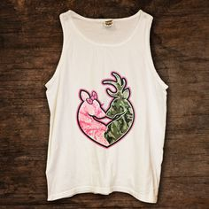 Buck Doe Heart In Pink Camo and Camo Tank (available in 4 colors) http://www.sixshootergiftshop.com/collections/tank-tops/products/buck-doe-heart-in-pink-camo-and-camo-tank-top