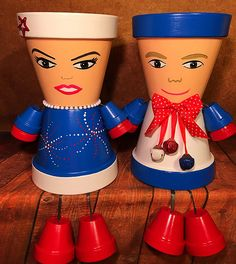 Flower Pot People Patriotic Independence Day Couple 4th of