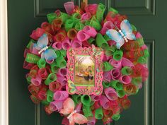 Lime Green and Pink Spiral Deco Mesh Butterfly Wreath with Picture Frame