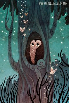 A cute owl wakes up to a wonderful, moth-filled night. I painted it with the smell of rain and leaves in my studio, enjoying spring evenings.  This