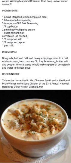 32 Ideas For Seafood Bisque Recipe Easy Crab Soup - Seafood Recipes Seafood Bisque Recipe Easy, Seafood Soup Recipes, Crab Cake Recipes, Chowder Recipes, Easy Soup Recipes, Seafood Dishes, Cooking Recipes, Crab Stew Recipe, Maryland Cream Of Crab Soup Recipe