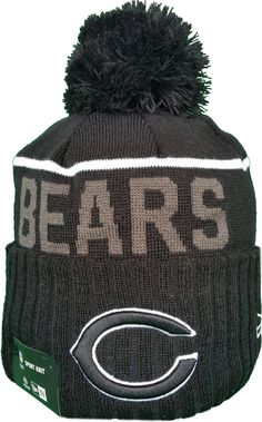 Chicago Bears Fleece Lined Black Pom Toque