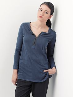 Blue shirt women tunic long cotton - naisen pitkähihainen paita tunika sininen