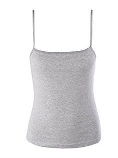 Moxeay Juniors Basic Stretch Spaghetti Strap Tank Top Camisole Cotton Small Gray ** Visit the link on the image.