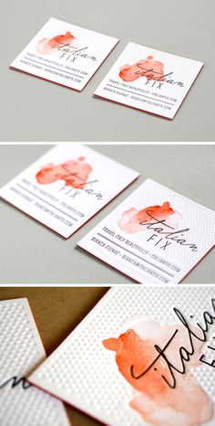 DIY Watercolor Business Cards Gallery: Plus Quick Tips on Making Your Own || Embossed watercolor business cards by Eva Black Design