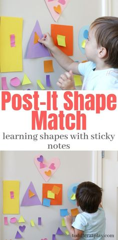 Post-It Shape Match What's a fun way to learn shapes? Use Post-It notes! Toddlers will have fun matching the different shapes and learning at the same time. The post Post-It Shape Match appeared first on Toddlers Diy. Group Games For Kids, Indoor Activities For Toddlers, Toddler Learning Activities, Sensory Activities, Toddler Games, Shape Activities, Preschool Ideas, Gross Motor Activities, Parenting Toddlers