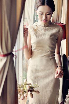 Sleeveless Linen color Cheongsam,Chinese Dress