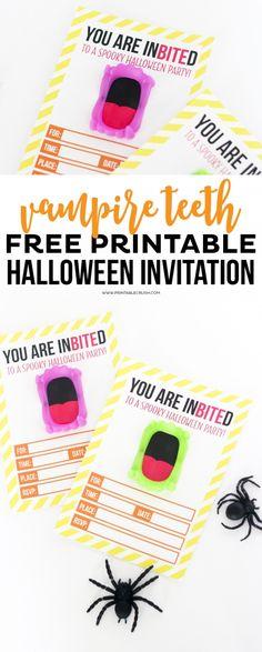 Free Printable Vampire Teeth Halloween Invitation | Halloween Party Ideas