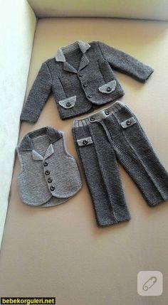 Baby Boys, Baby Boy Suit, Baby Boy Knitting Patterns, Baby Knitting, Baby Cardigan, Baby Set, Boys Suits, Knitting Videos, Knit Pants