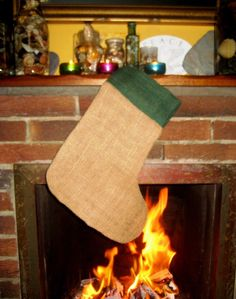 3 New Jute Christmas Stockings 35cm Traditional Xmas Stocking Decoration + Loop
