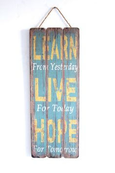 Learn Live Hope Home Decor Wooden Sign Wall Art by honeywoodhome, $34.95