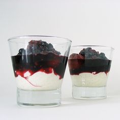 Berries poached in wine with mascarpone cheese