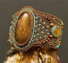 ~~Golden Age Bead Embroidery Bracelet, crimsonfrog on etsy.com~~ #embroiderybracelets