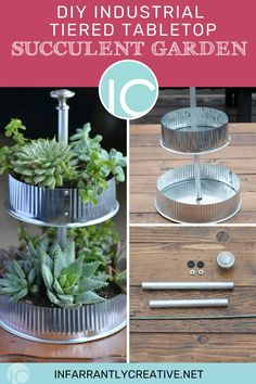 Succulents are probably the easiest plant to keep alive so for those of you who have a black thumb this succulent garden project is for you. I love the greenery paired with the industrial metal tubes and end caps used in this project. All these items can be found at any hardware store. Diy Planters, Planter Ideas, Knock Off Decor, Home Bar Furniture, Industrial Metal, Creative Ideas, Diy Ideas, Decor Ideas, Easy Diy Crafts