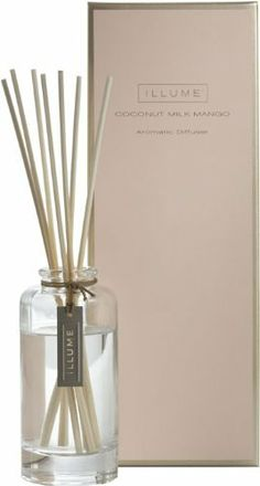 Illume Coconut Milk Mango Essential Diffuser by Illume. $25.00. 88.7 ml/3 fl oz. Illume charm hangs from diffuser neck. Alcohol-free.. Soft-touch packaging with beautiful foil detail.. Coconut Milk Mango - a tropical fusion of mango and fresh coconut milk. The Illume Coconut Milk Mango Essential Diffuser has notes of tropical coconut milk mingled with fresh mango.