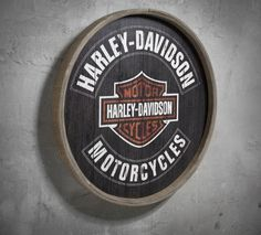 Harley Davidson themed office(more Vintage Harley for our office than anything else)-- Barrel End Wooden Sign