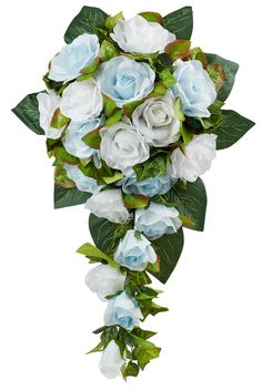 Light Blue and White Silk Rose Cascade - Bridal Wedding Bouquet