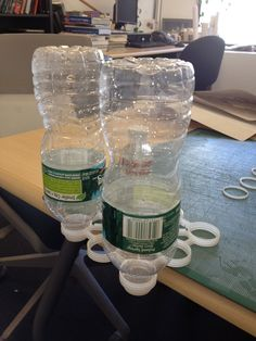 Testing the diameter of early mock-ups. The system works with almost any bottle type!